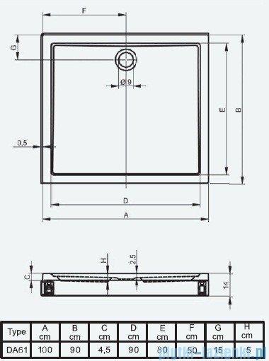 Riho Brodzik prostokątny płaski 253 100x90x14 DA61 + nóżki + panel