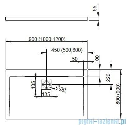 Radaway Eos II DWD+S Kabina 90x80 prawa szkło przejrzyste + brodzik Argos D + syfon 3799491-01/3799410-01L/4AD89-01