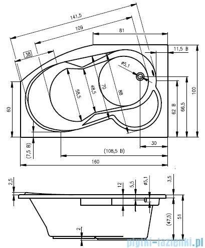 Riho Nora wanna asymetryczna 160x100 prawa + nózki + syfon BA74/08/AMC55