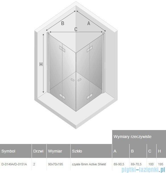 New Trendy New Soleo 90x70x195 cm kabina prostokątna przejrzyste D-0149A/D-0151A
