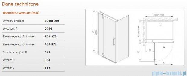 Sanplast kabina narożna prostokątna lewa przejrzysta  KNDJ2L/AVIV-90x100 90x100x203 cm 600-084-0210-42-401
