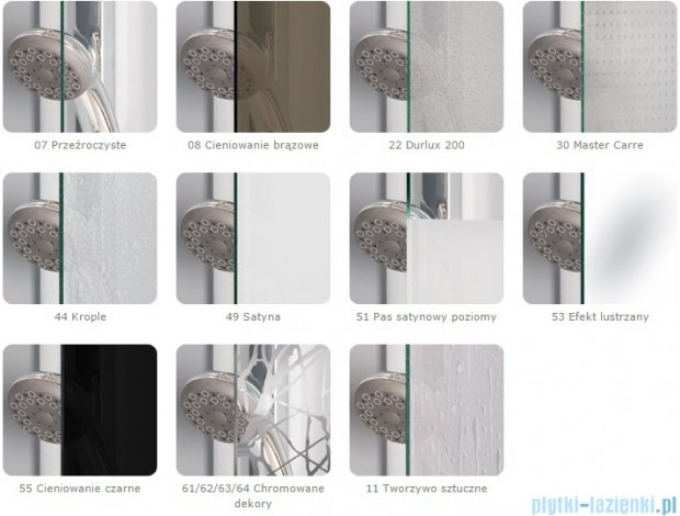 SanSwiss Melia MET1 ścianka lewa 90x200cm cieniowane czarne MET1PG0901055