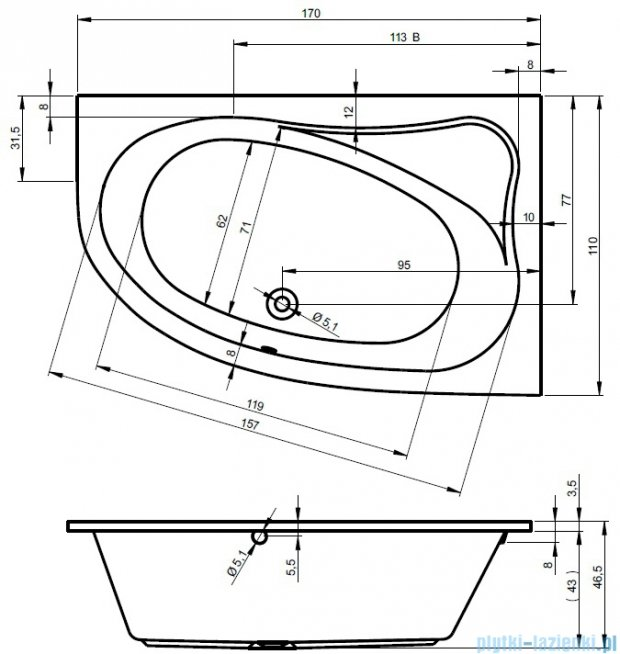 Riho Lyra wanna asymetryczna lewa 170x110 z hydromasażem PRO Hydro 6+4+2 BA64P6