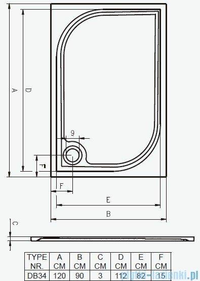 Riho Brodzik prostokątny Kolping 120x90x3 DB34