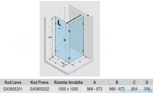 Riho Kabina prysznicowa Scandic Lift M204 100x100x200 cm LEWA GX0805201