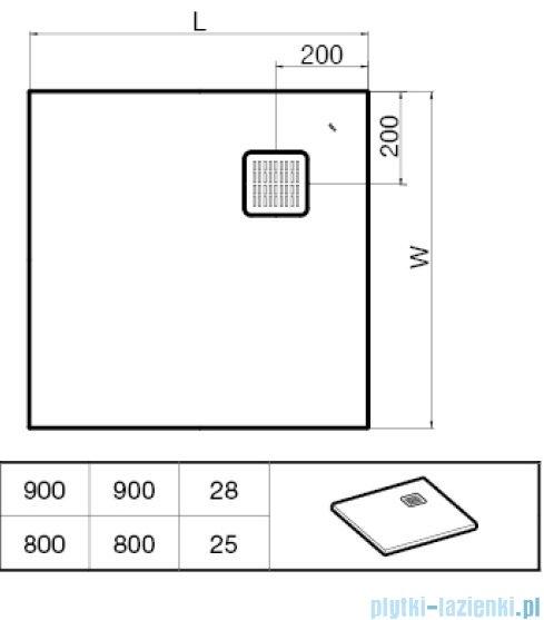 Roca Terran 80x80cm brodzik kwadratowy konglomeratowy ciemnoszary AP0332032001200