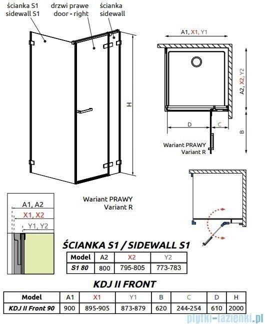 Radaway Arta Kdj II kabina 90x80cm prawa szkło przejrzyste 386455-03-01R/386040-03-01R/386020-03-01