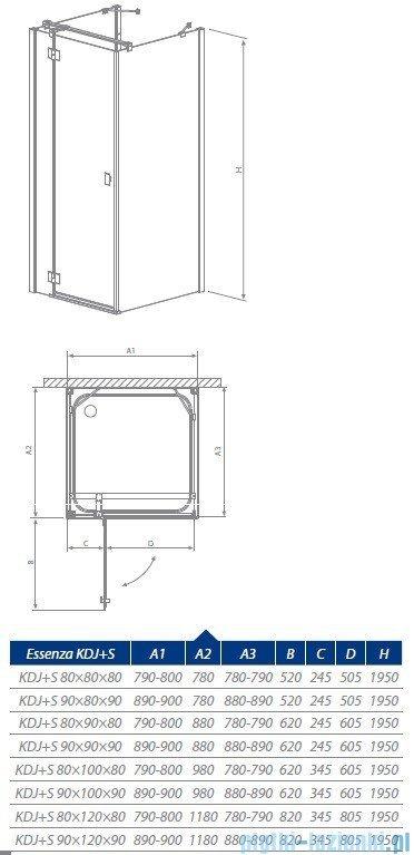 Radaway Essenza KDJ + S kabina 120x80 prawa szkło przejrzyste 32932-01-01R