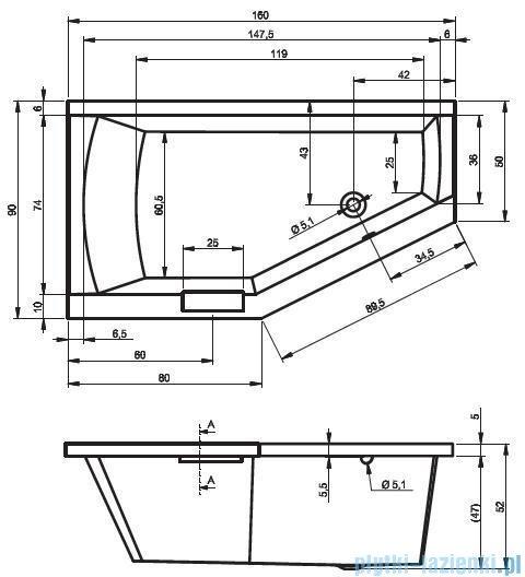 Riho Geta Wanna asymetryczna 160x90 prawa + nogi + syfon BA86/09/AMC55