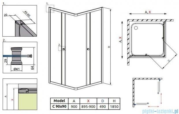 Radaway Classic C Kabina prysznicowa kwadratowa z drzwiami przesuwnymi 90x90 szkło brązowe 30050-01-08