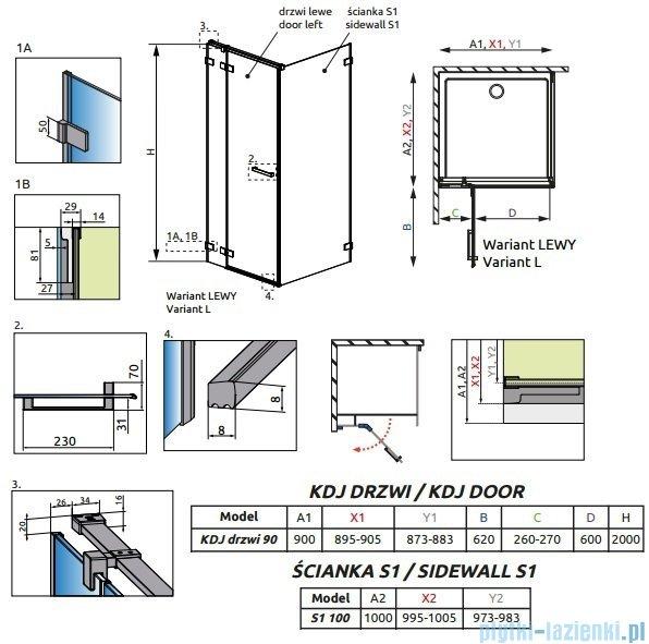 Radaway Euphoria KDJ Kabina prysznicowa 90x100 lewa szkło przejrzyste 383044-01L/383052-01