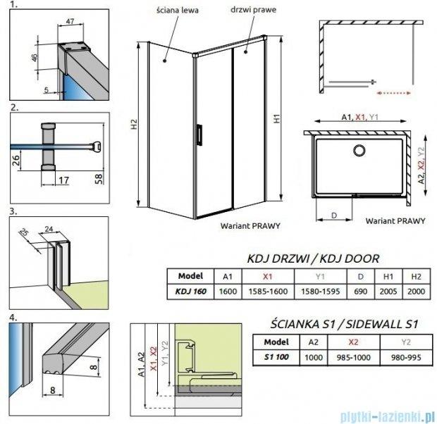 Radaway Idea Kdj kabina 160x100cm prawa szkło przejrzyste 387046-01-01R/387052-01-01L