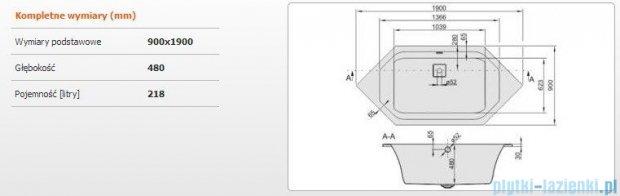 Sanplast Space Line Wanna sześciokątna+adapter z pokrywką W6k/SPACE 190x90 cm, 610-100-1550-01-000