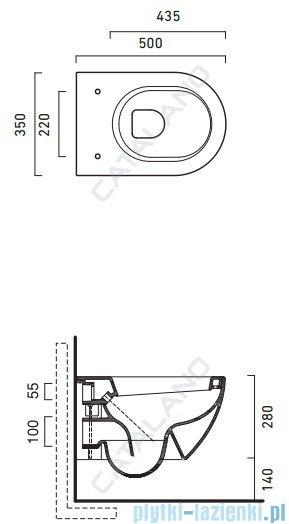 Catalano Sfera Wc 50 miska WC wiszący 50x35cm biały 1VSS5000