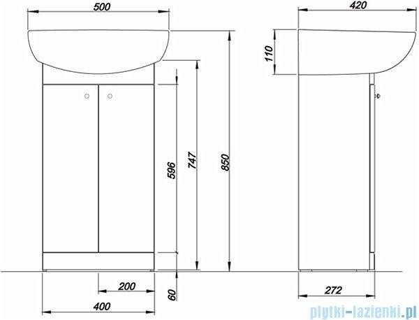 Koło Solo Zestaw 50cm łazienkowy szafka z umywalka biały połysk 79002000