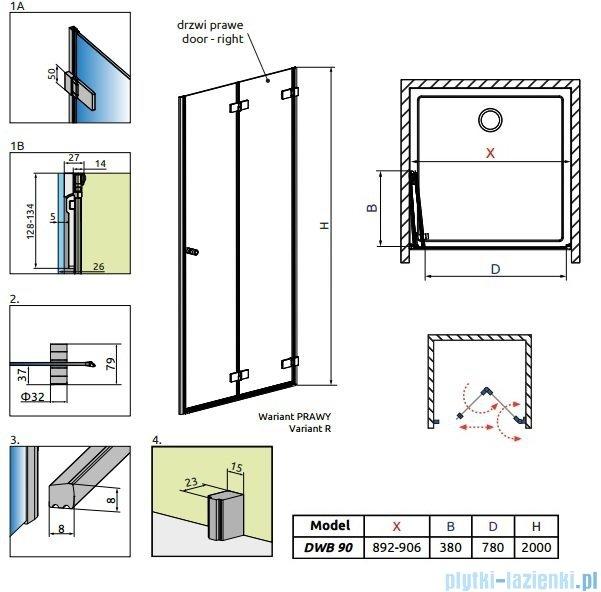 Radaway Arta Dwb drzwi wnękowe 90cm prawe szkło przejrzyste 386151-03-01R