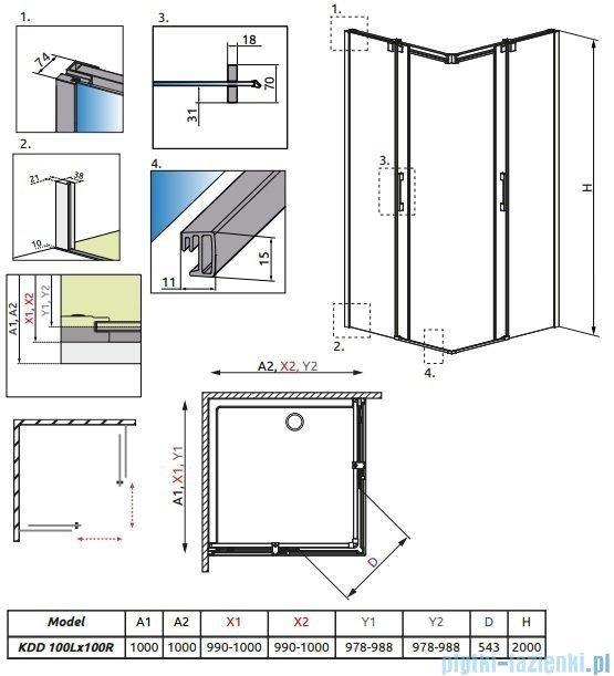 Radaway Espera KDD Kabina prysznicowa 100x100 szkło przejrzyste 380152-01L/380152-01R