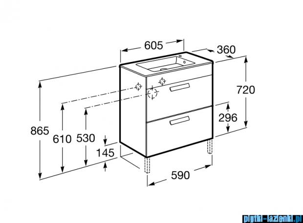 Roca Debba Unik Compacto 60 zestaw łazienkowy z 2 szufladami biały połysk A855905806