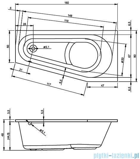 Riho Delta wanna asymetryczna 160x80 lewa + nóżki + syfon BB83/01U/AMC55