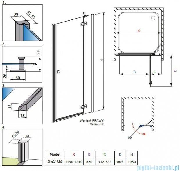 Radaway Almatea DWJ Drzwi wnękowe 120 Prawe szkło intimato 31502-01-12N