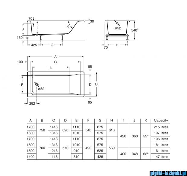 Roca Easy wanna 170x75cm z hydromasażem Effects Gold Opcja A24T338000