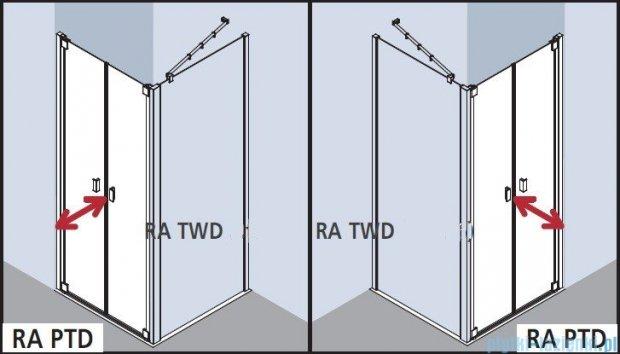 Kermi Raya Drzwi wahadłowe, 2-skrzydłowe, szkło przezroczyste, profile srebrne 90x200 RAPTD09020VAK