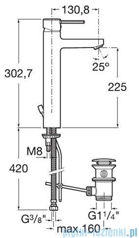 Roca Targa Bateria umywalkowa wysoka z korkiem automatycznym chrom A5A3460C00