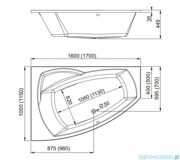 Aquaform Senso wanna asymetryczna 160x105cm lewa 05191