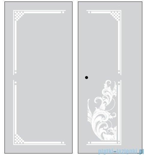 Kerasan Retro Kabina prostokątna prawa szkło dekoracyjne piaskowane profile chrom 80x96 9144P0