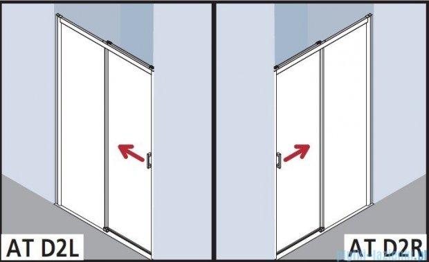 Kermi Atea Drzwi przesuwne bez progu, prawe, szkło przezroczyste, profile srebrne 100x185 ATD2R10018VAK