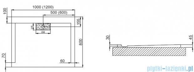 Polimat Comfort brodzik akrylowy posadzkowy 20x80 czarny mat 00184