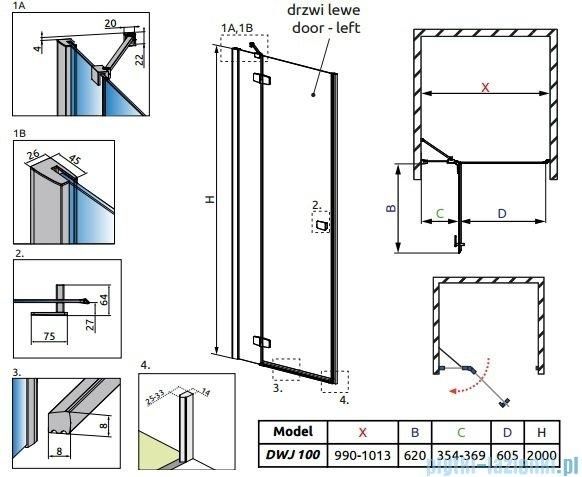Radaway Fuenta New Dwj drzwi wnękowe 100cm lewe szkło przejrzyste 384014-01-01L