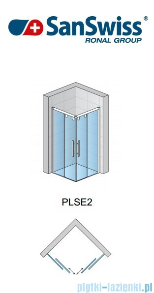SanSwiss Pur Light S PLSE2 Drzwi narożne rozsuwane 100cm Lewe PLSE2G1000407
