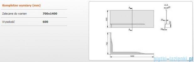 Sanplast Obudowa do wanny Free Line prawa, OWPLP/FREE 70x140 cm 620-040-0050-01-000