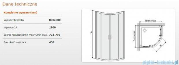 Sanplast kabina narożna półokrągła KP4/TX4-80 szkło: Grey 600-271-0051-38-500