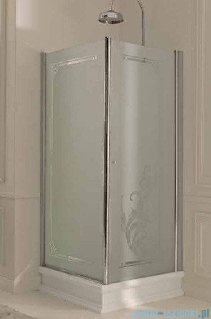 Kerasan Kabina prostokątna lewa, szkło piaskowane profile złote 80x96 Retro 9143S1