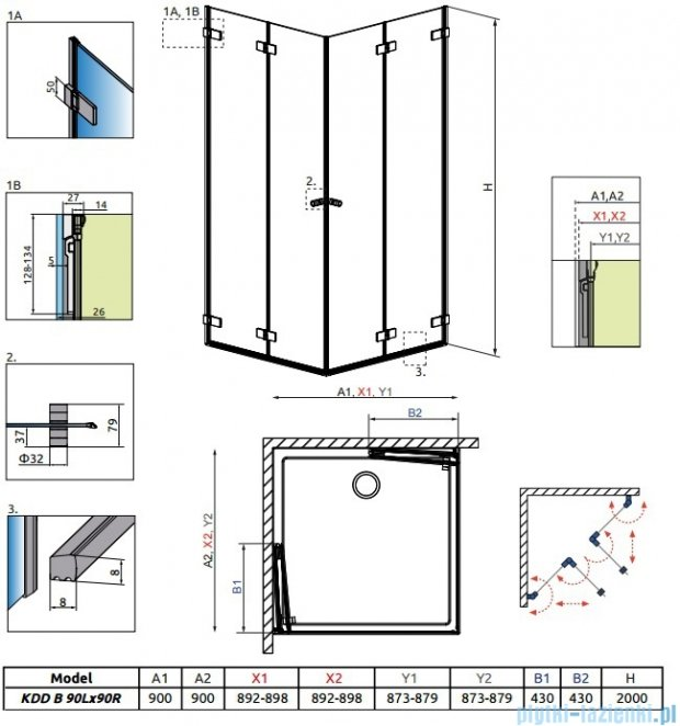 Radaway Arta Kdd B kabina 90x90cm szkło przejrzyste 386161-03-01L/386161-03-01R