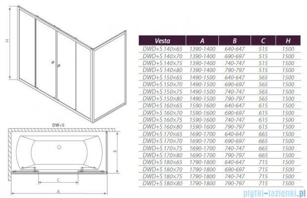 Radaway Ścianka Vesta S80 szkło fabric 204080-06
