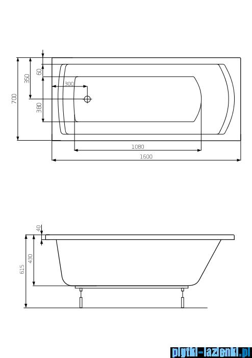 Roca Linea wanna 160x70cm z hydromasażem Effects Titanium A24T025000