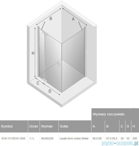 New Trendy kabina Kamea 90x90x200cm lewa przejrzyste EXK-1111/EXK-1050