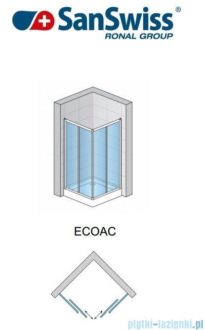 SanSwiss Eco-Line Wejście narożne Eco 90cm profil srebrny szkło przejrzyste Lewe ECOG09000107