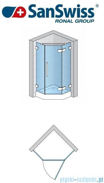 SanSwiss Pur PUR51 Drzwi 1-częściowe do kabiny 5-kątnej 45-100cm profil chrom szkło Pas satynowy Prawe PUR51DSM21051
