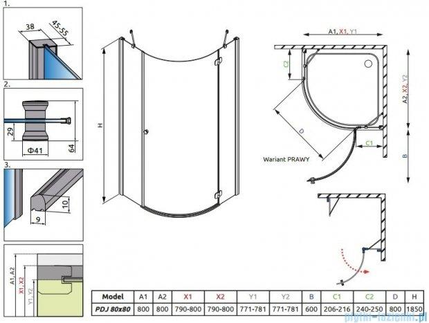 Radaway Torrenta PDJ kabina półokrągła 80x80 prawa szkło grafitowe 31810-01-05N