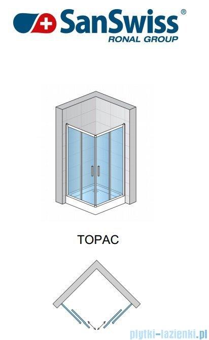 SanSwiss Top-Line TOPAC Wejście narożne 75cm profil srebrny Prawe TOPD07500107