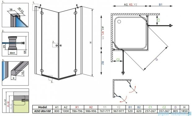 Radaway Torrenta Kdd Kabina prysznicowa 80x100 szkło grafitowe + brodzik Doros D + syfon 32273-01-05NR