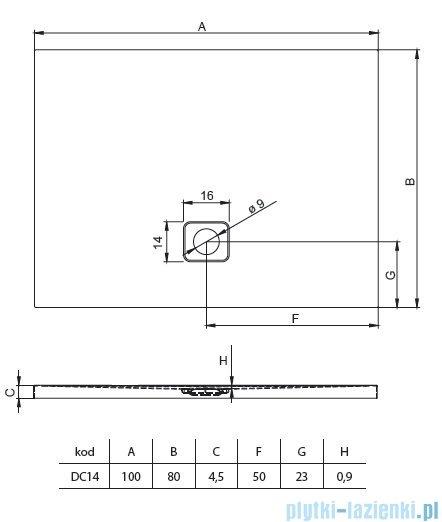 Riho Basel 404 brodzik prostokątny czarny mat 100x80x4,5cm DC1417