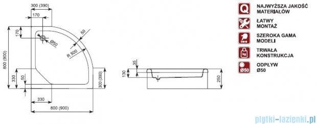 Aquaform Standard brodzik półokrągły 90x90x25cm na podstawie ze styropianu 18504