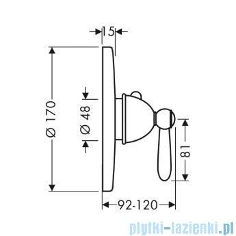 Hansgrohe Axor Carlton Bateria termostatowa podtynkowa High Flow z uchwytem jednoramiennym 17712000