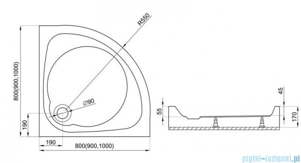 Polimat Nowy Styl 1 brodzik półokrągły kompaktowy 80x80x5 00615