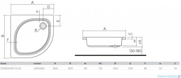 Koło Standard Plus Brodzik 80cm półokrągły XBN1580000